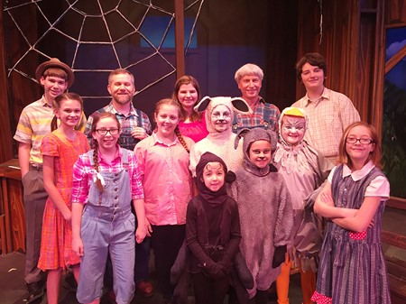 """McCracken County Schools students and teachers participating in the cast of Market House Theatre's Family Series production of """"Charlotte's Web"""""""