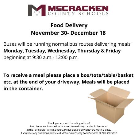 Food Delivery November 30-December 18
