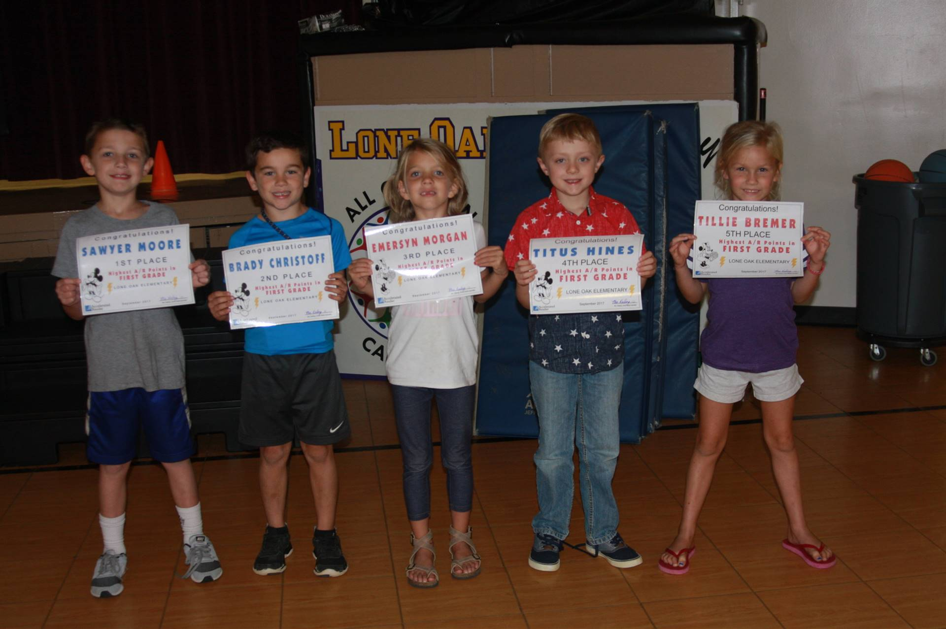 1st Grade Accelerated Reading Awardees