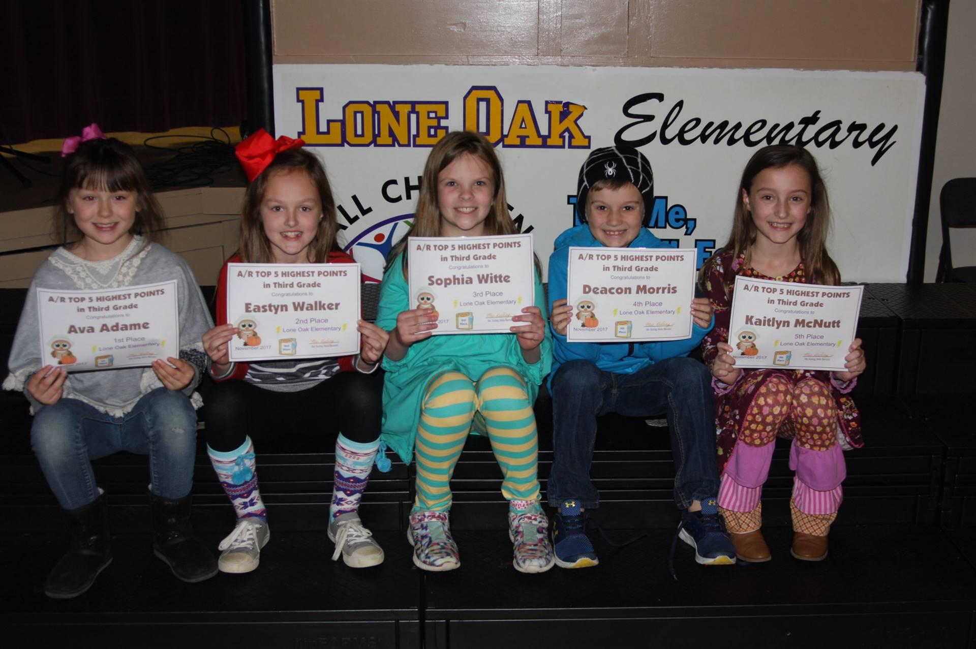 Third Grade AR Awardees