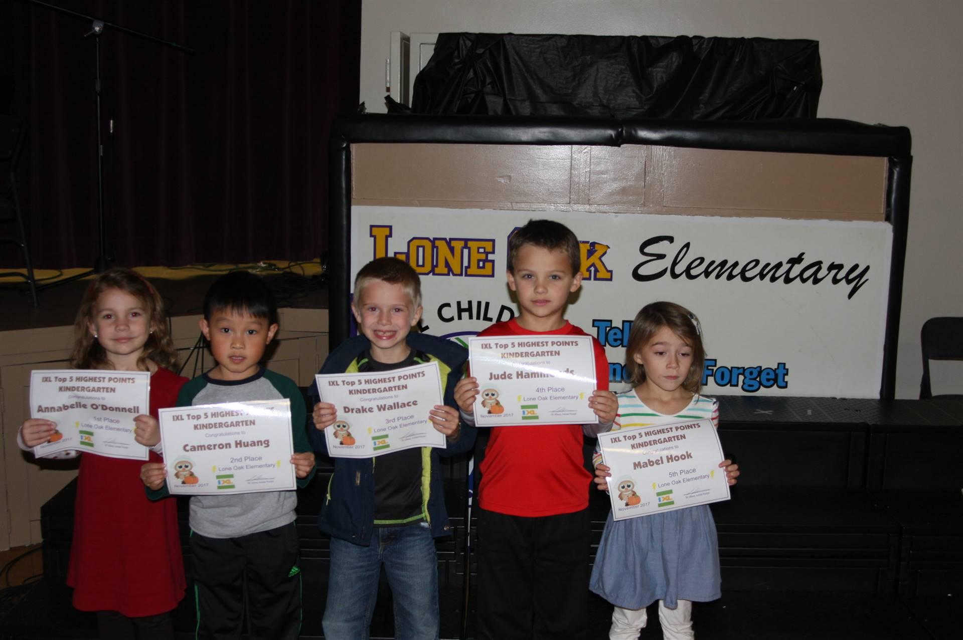 Kindergarten IXL Awardees
