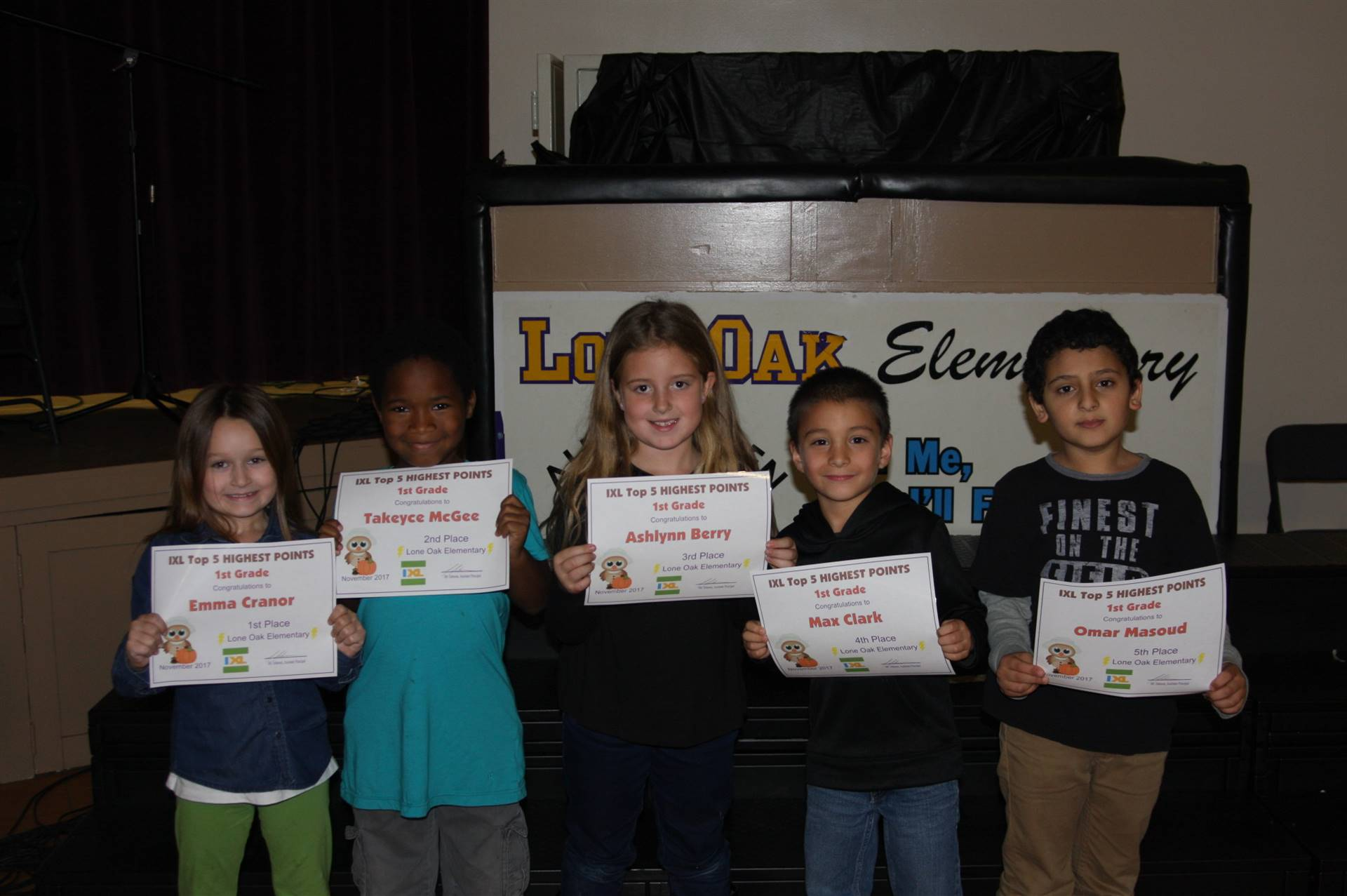 First Grade IXL Awardees