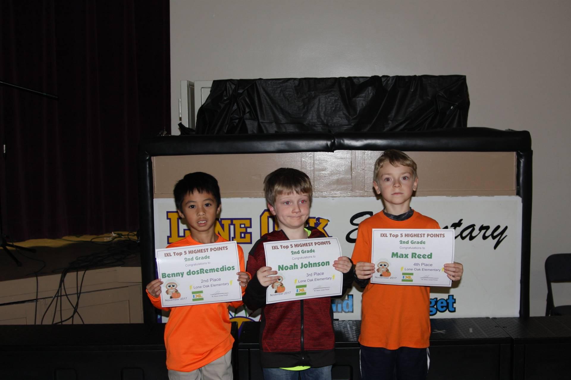 Second Grade IXL Awardees