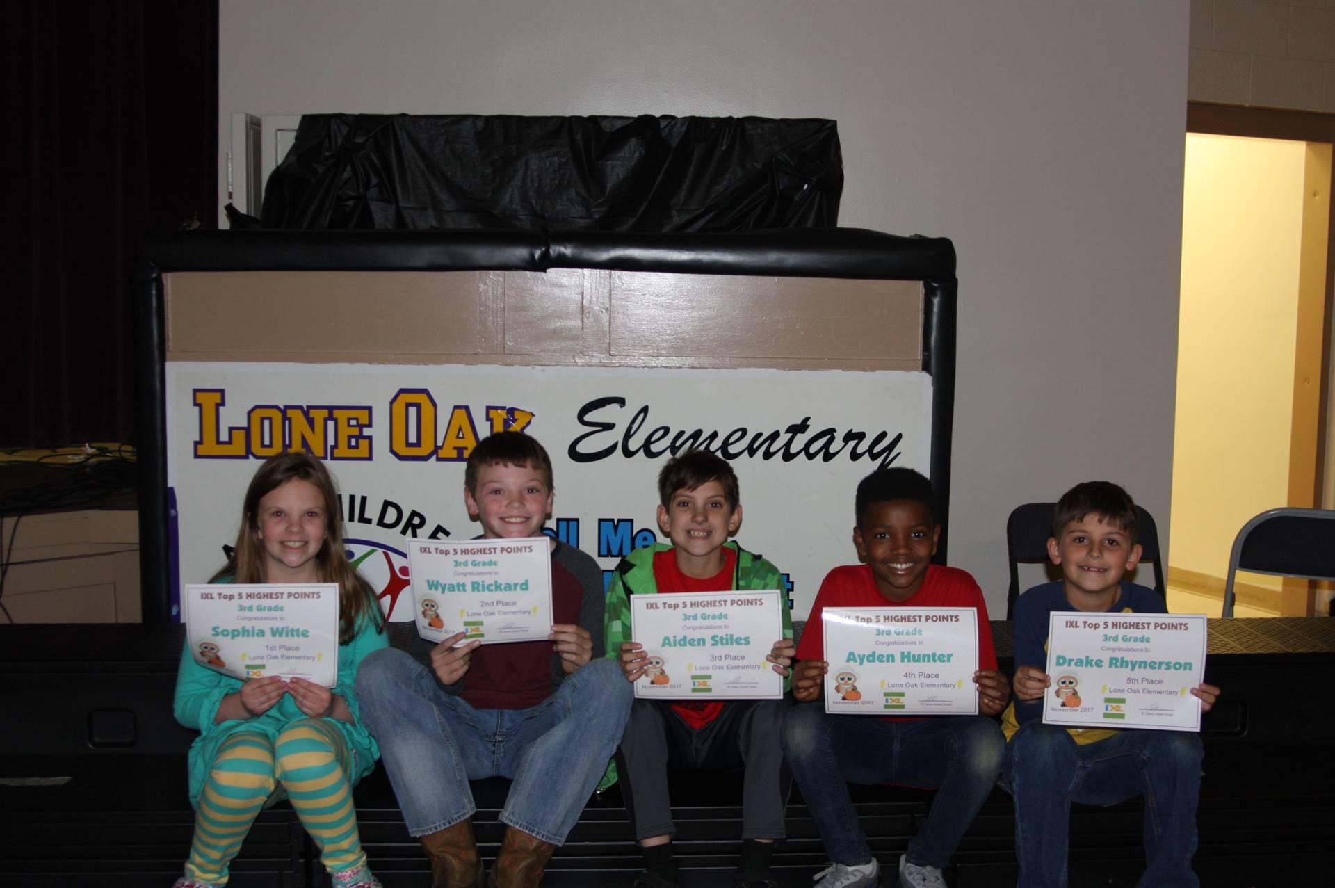 Third Grade IXL Awardees