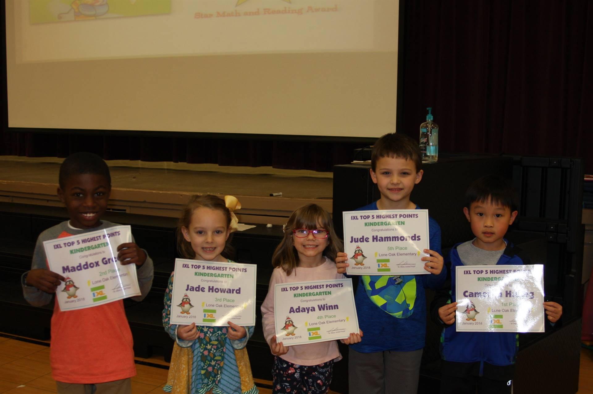 Kindergarten IXL Awards